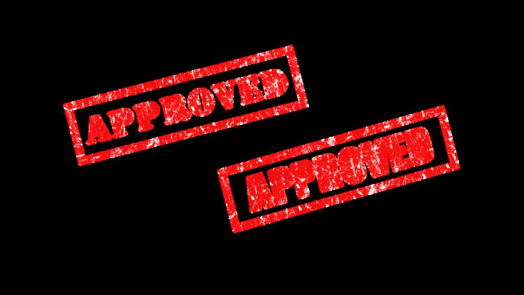 rubber stamp, approved, approved stamp